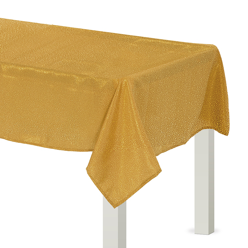 Metallic Gold Fabric Tablecloth Image #1