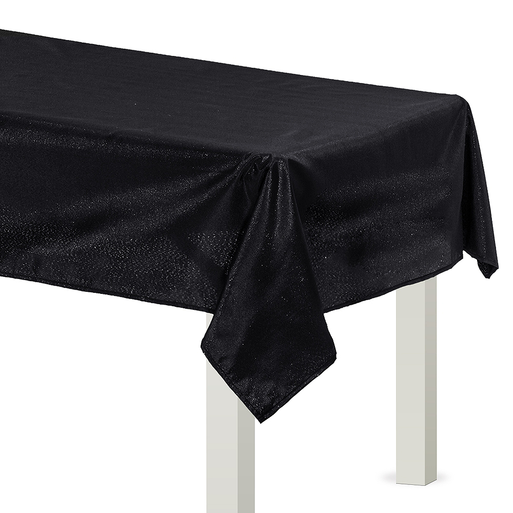 Metallic Black Fabric Tablecloth Image #1
