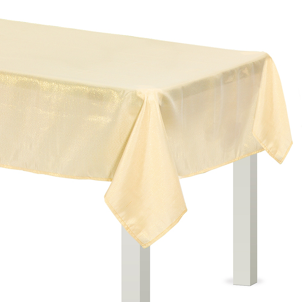 Metallic Vanilla Cream Fabric Tablecloth Image #1