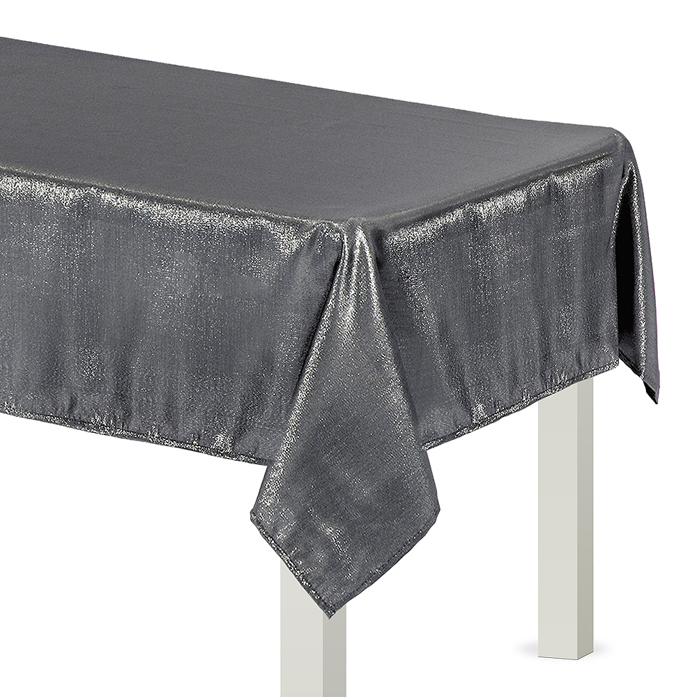 Metallic Silver Fabric Tablecloth Image #1
