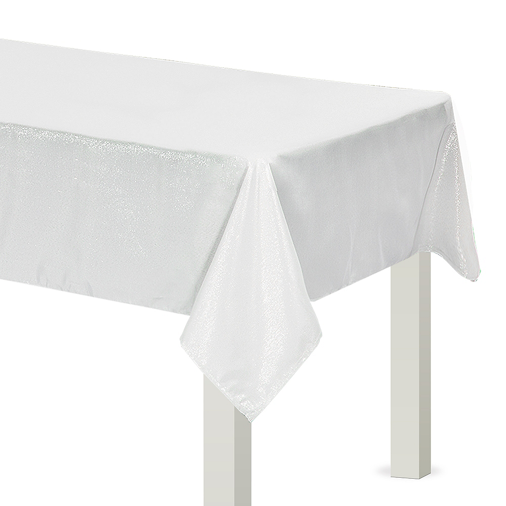 Metallic White Fabric Tablecloth Image #1