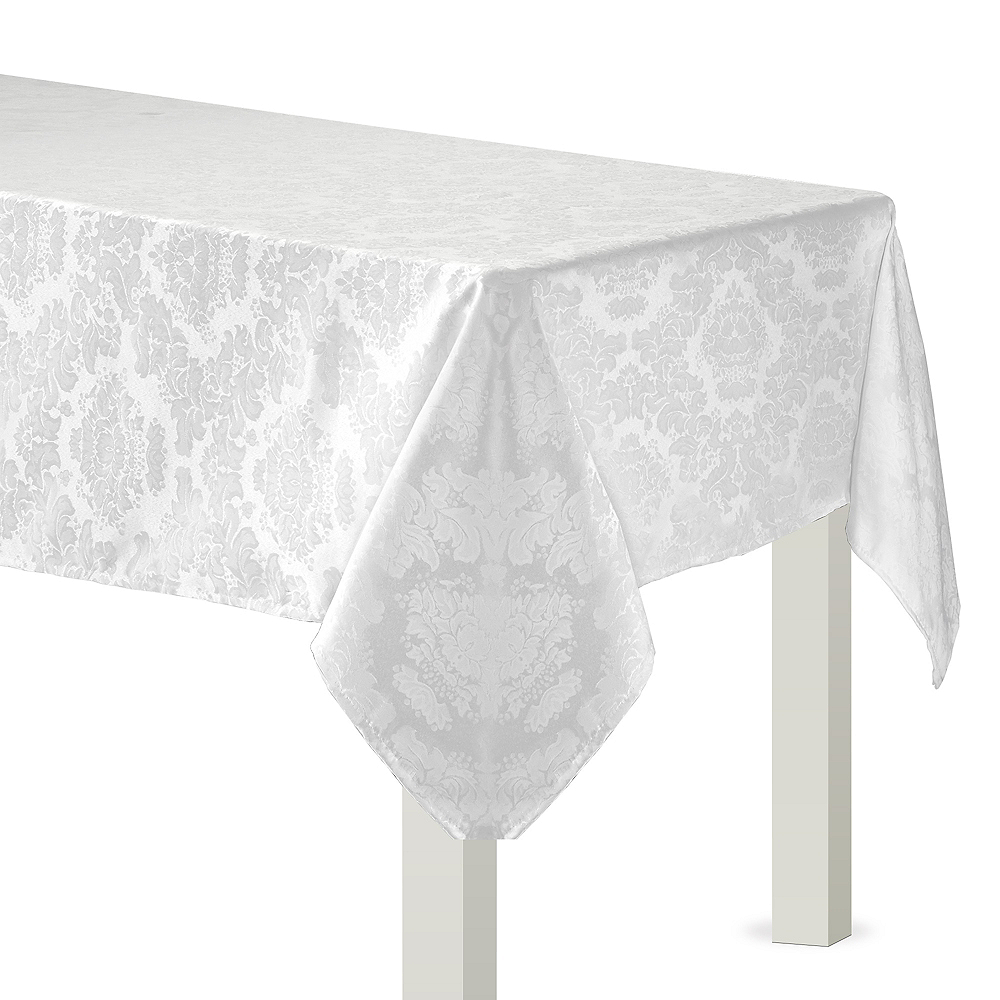 White Damask Fabric Tablecloth Image #1