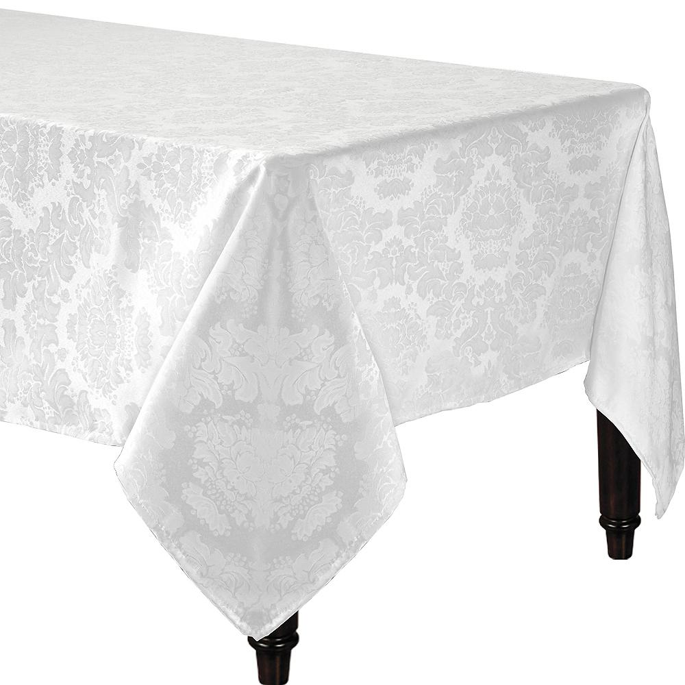 White Damask Fabric Tablecloth Image #1