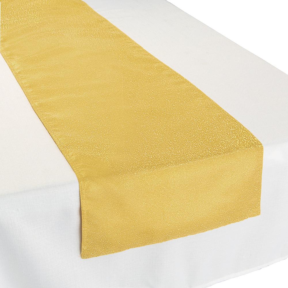 Metallic Gold Fabric Table Runner Image 1
