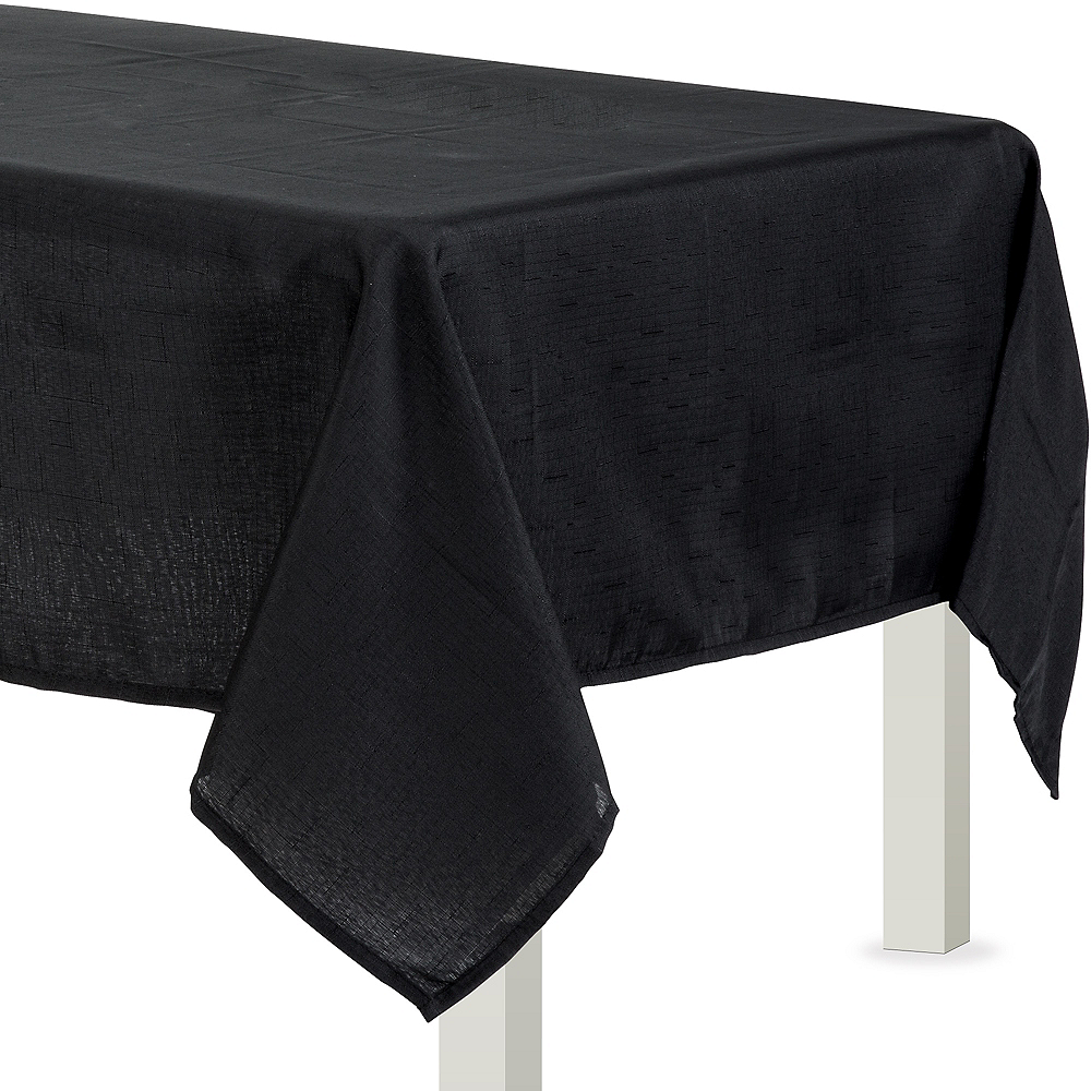 Black Fabric Tablecloth Image 1