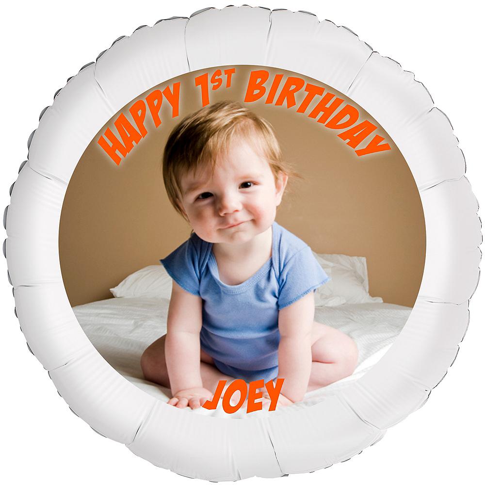 Custom Baby Boy Birthday Photo Balloon Image #1