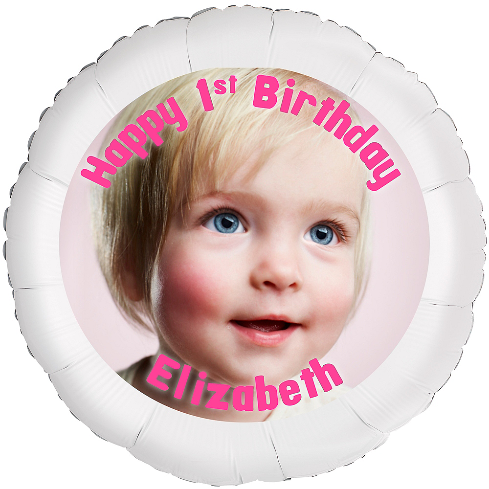 Custom Baby Girl Birthday Photo Balloon Image #1