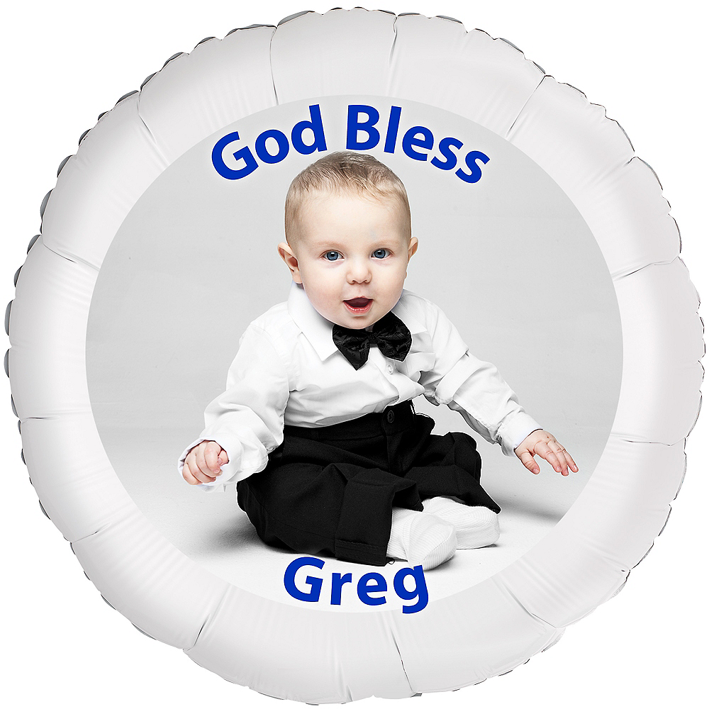 bd207e880 Custom Boy Baptism Photo Balloon 22 1/2in | Party City