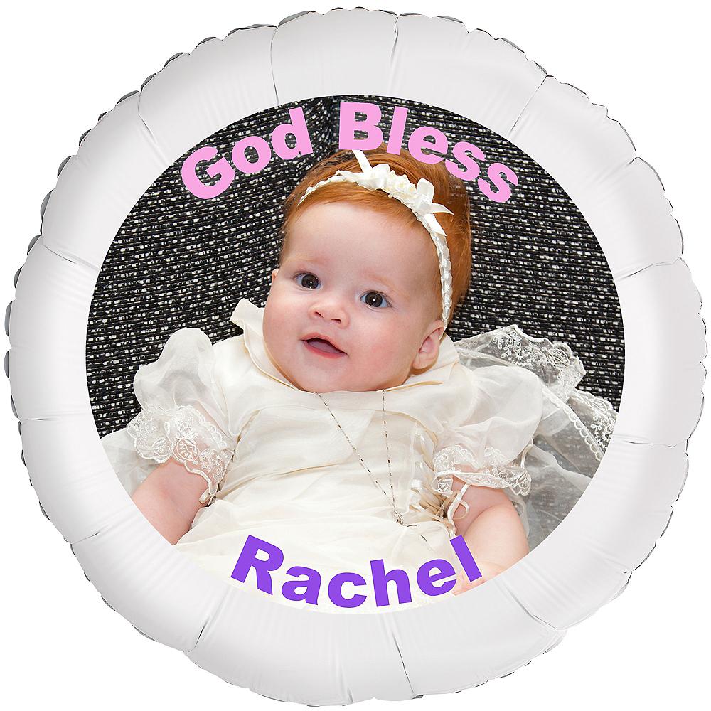 Custom Girl Baptism Photo Balloon Image #1