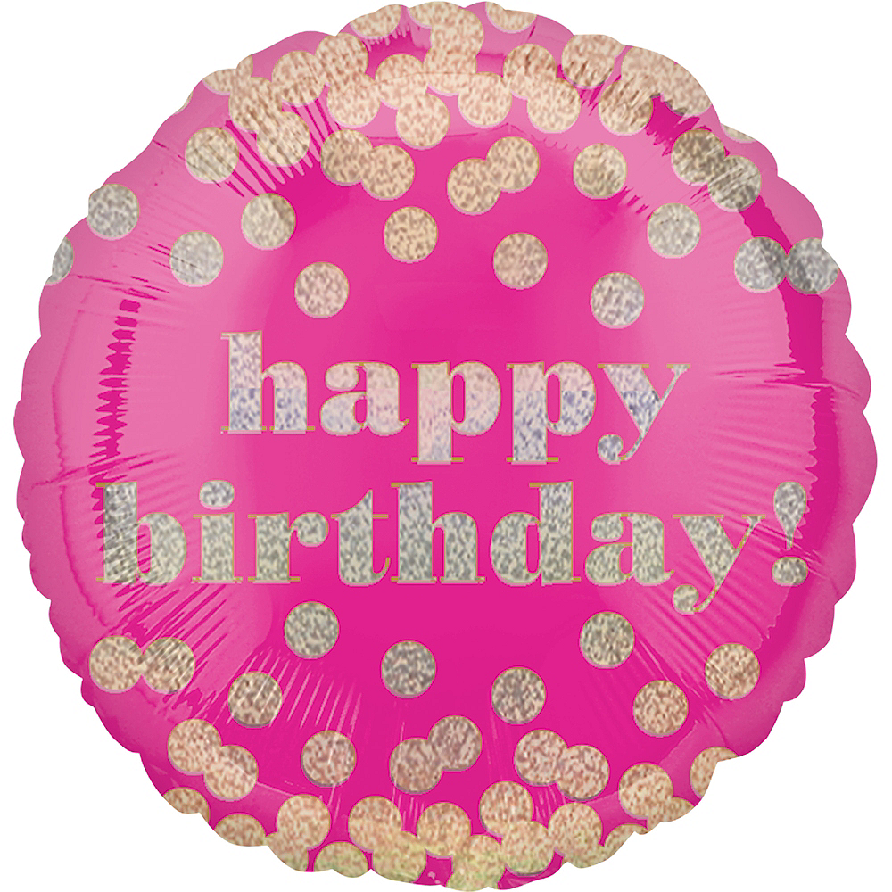 Metallic Dots Pink Happy Birthday Balloon 18in Image #1