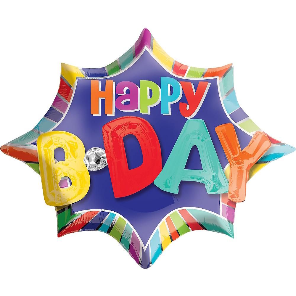 Happy Birthday Balloon 35in x 29in - 3D Starburst Image #1