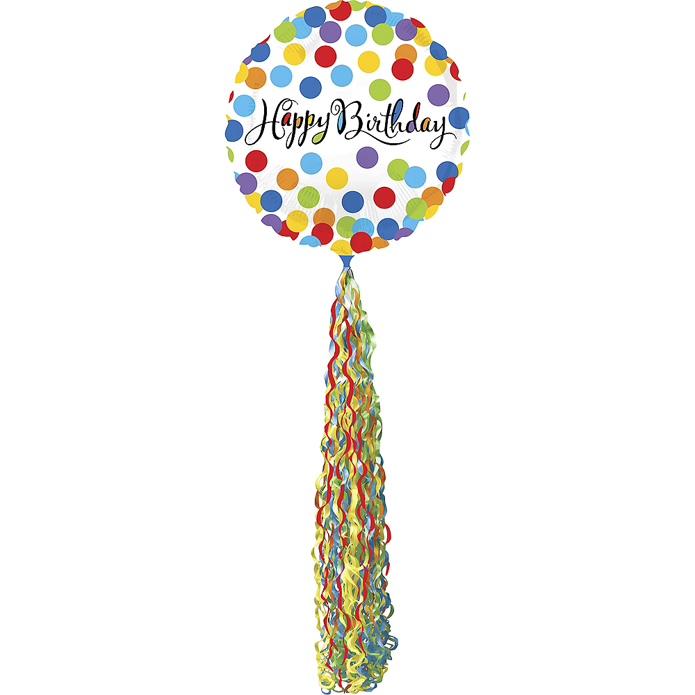 Giant Rainbow Dot Happy Birthday Balloon with Tail 36in Image #1