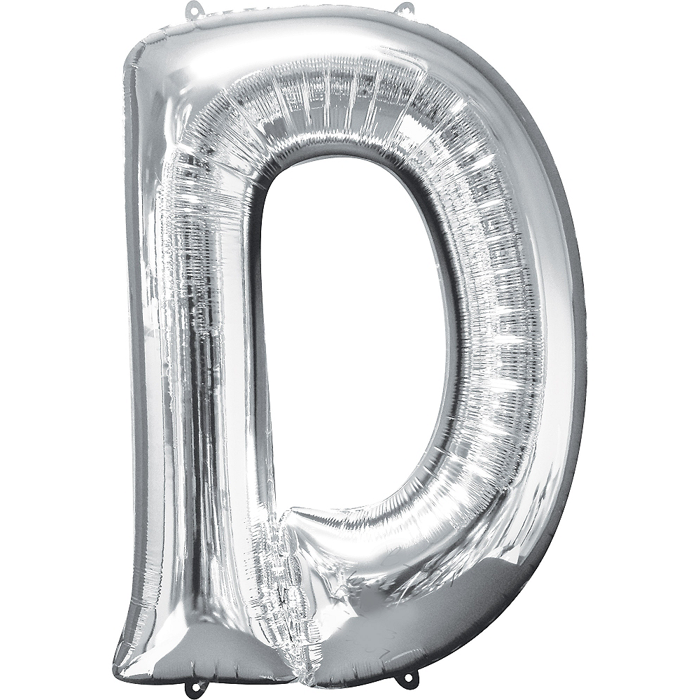 34in Silver Letter Balloon (D) Image #1