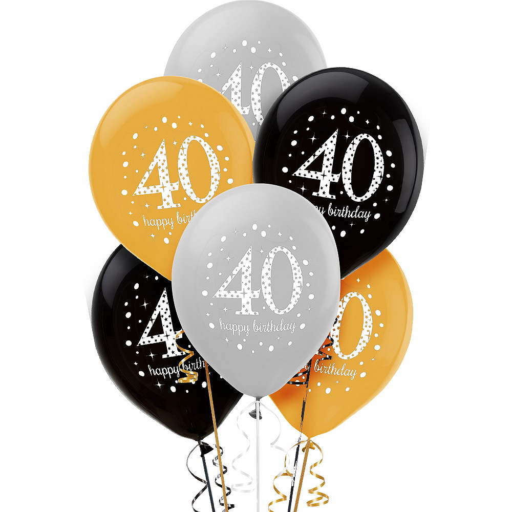 40th Birthday Balloons 6ct - Sparkling Celebration