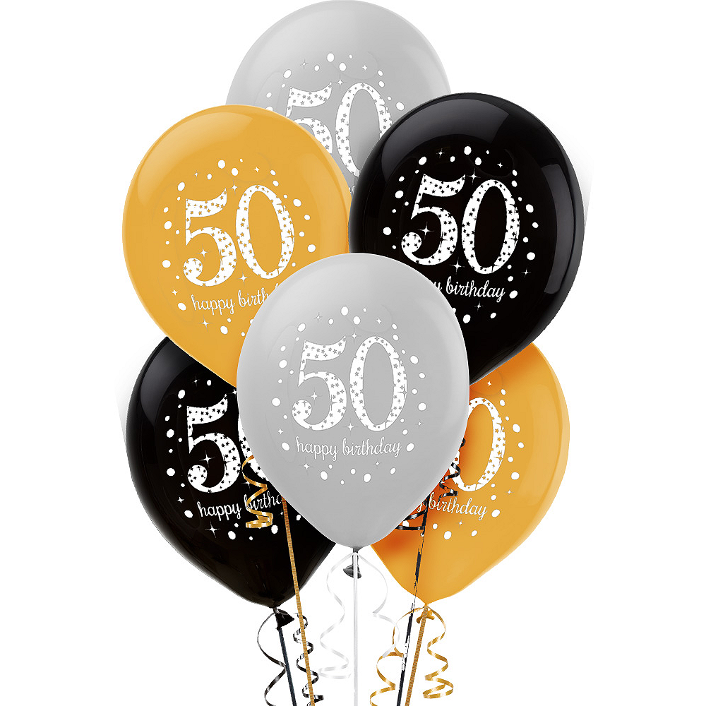 50th Birthday Balloons 6ct - Sparkling Celebration Image #1