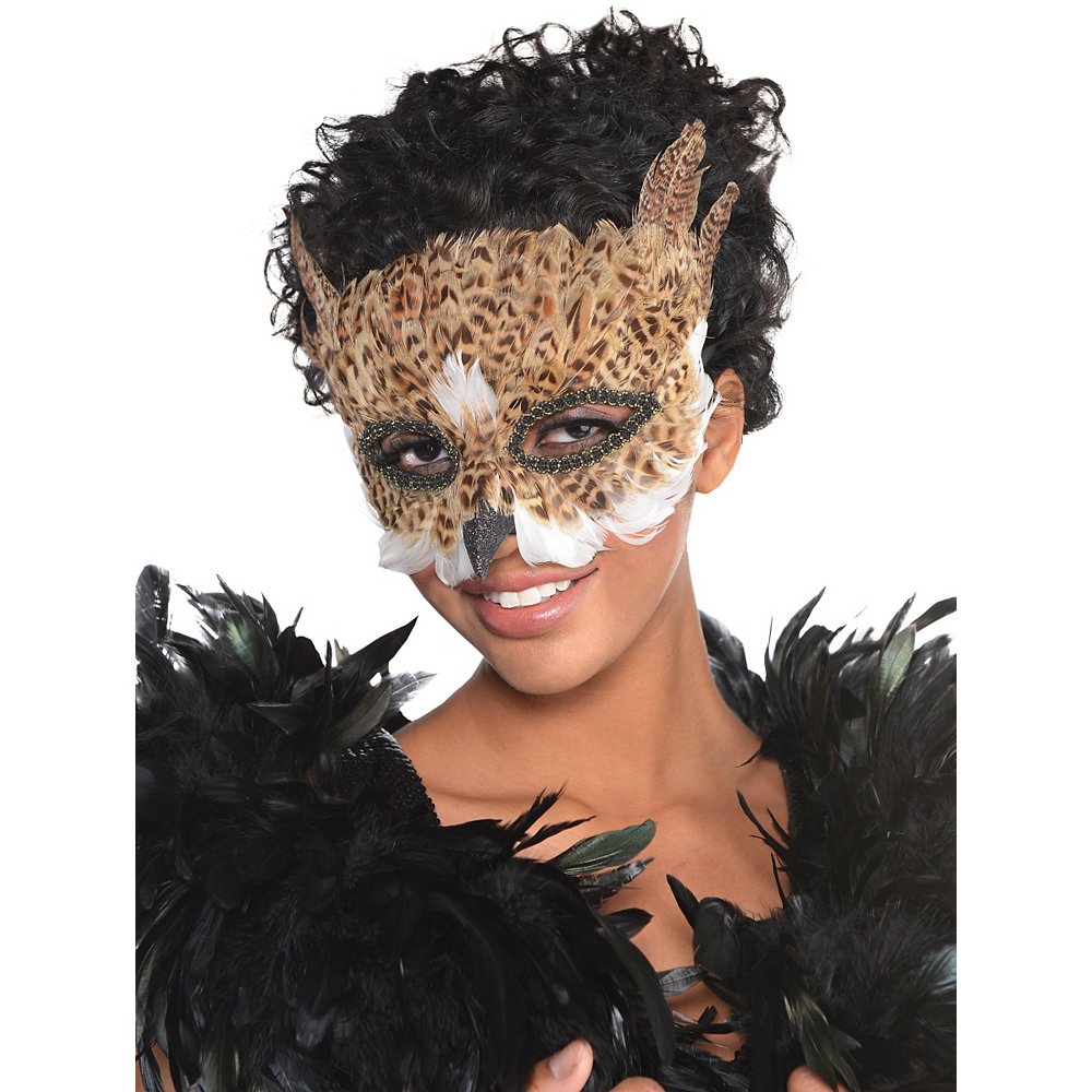 Brown Owl Feather Mask Image #2