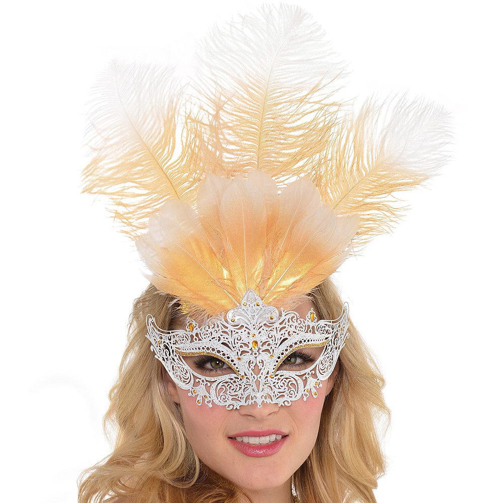 Nav Item for White Filigree & Feather Masquerade Mask Image #2