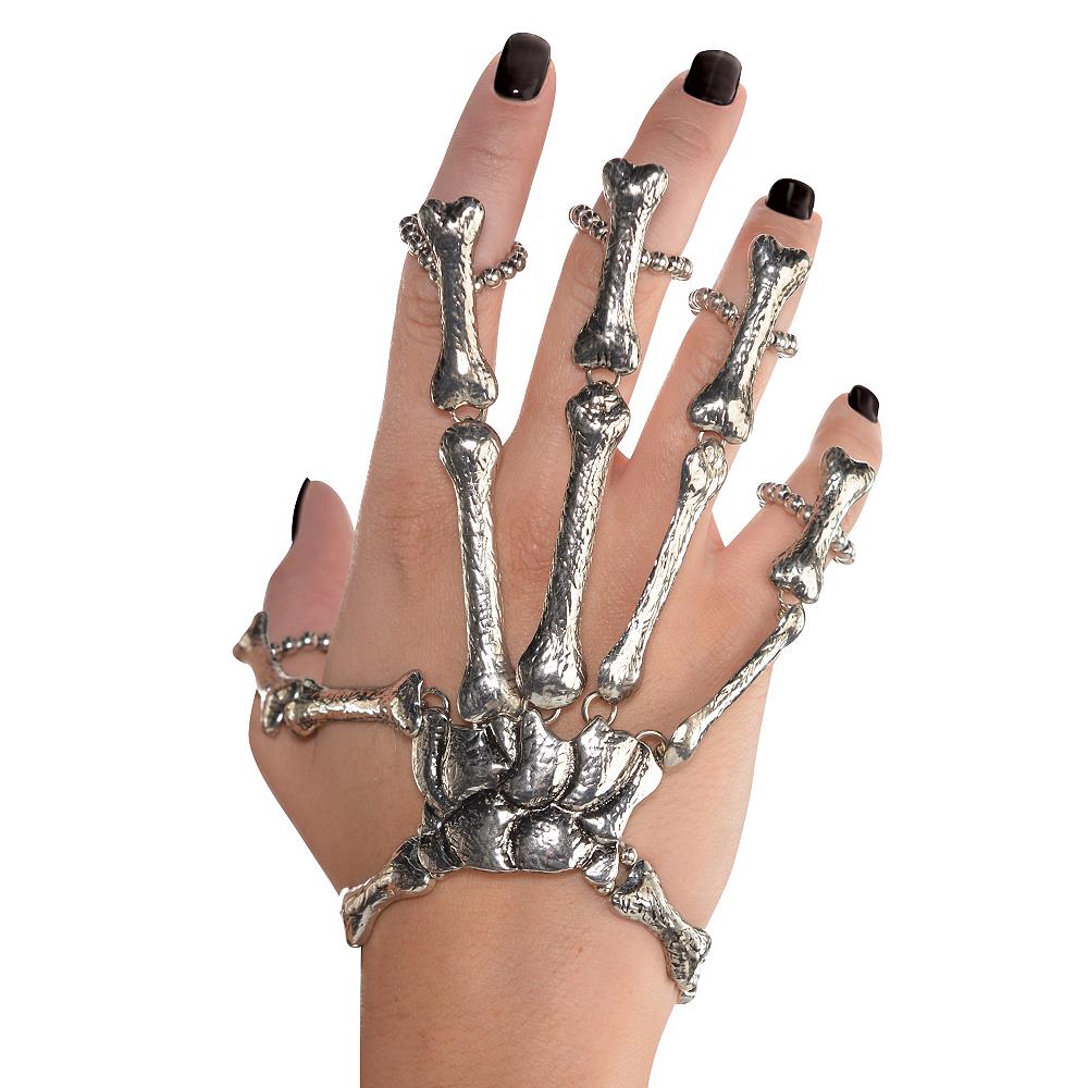 Silver Skeleton Bones Finger Bracelet Image #2
