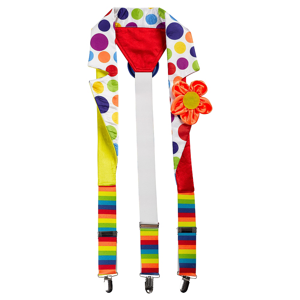 Polka Dot Rainbow Clown Suspenders Image #1