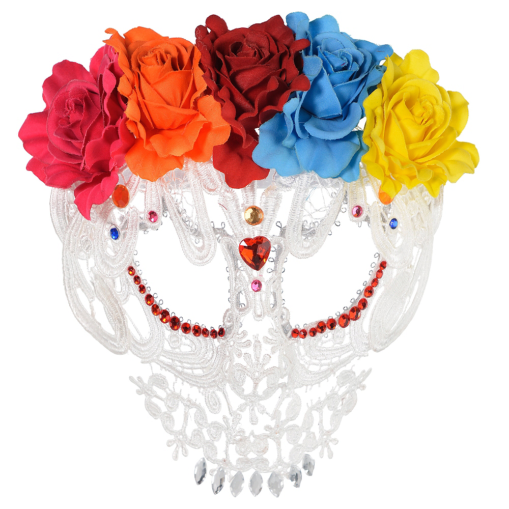 White Lace Day of the Dead Mask Image #1