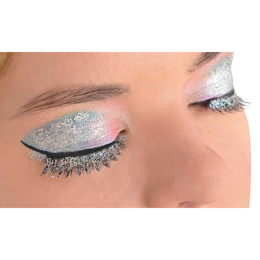Silver Glitter False Eyelashes Image #1