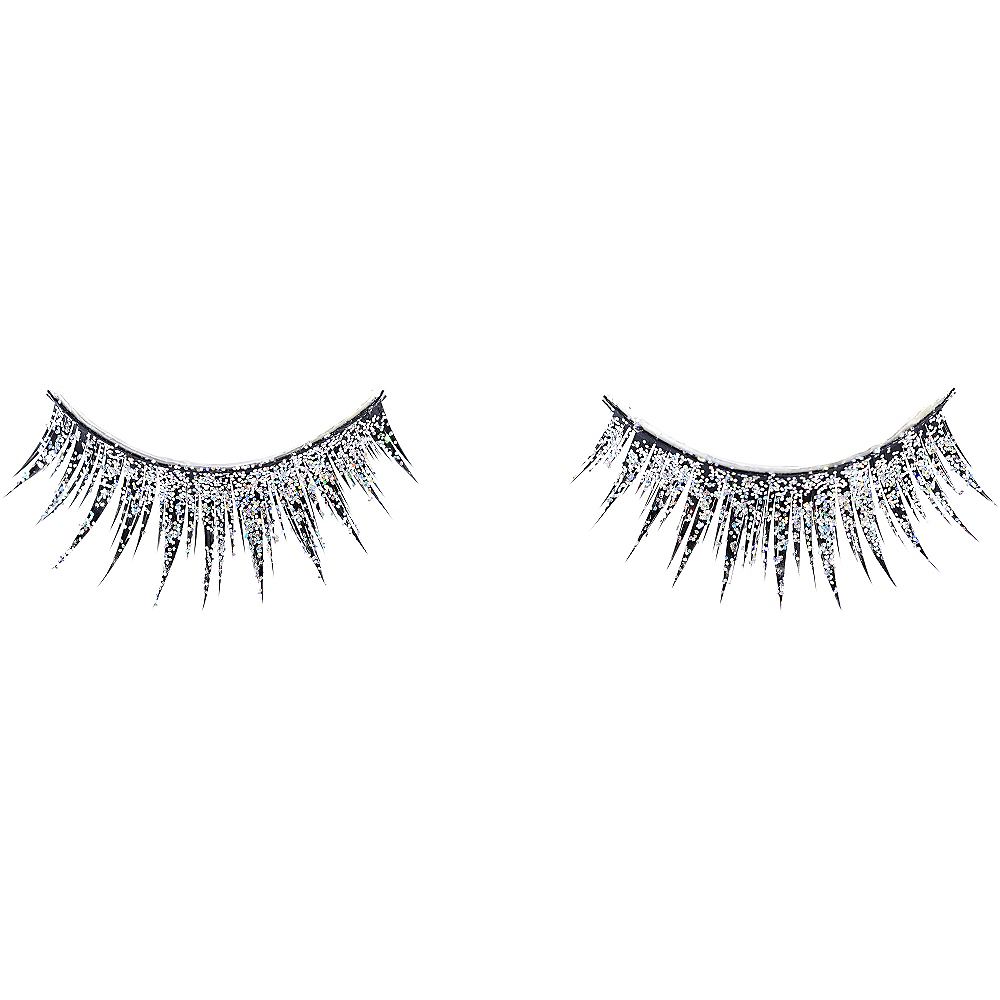 Silver Glitter False Eyelashes Image #2