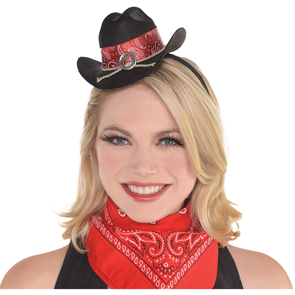Black Mini Cowgirl Hat Headband Image #1