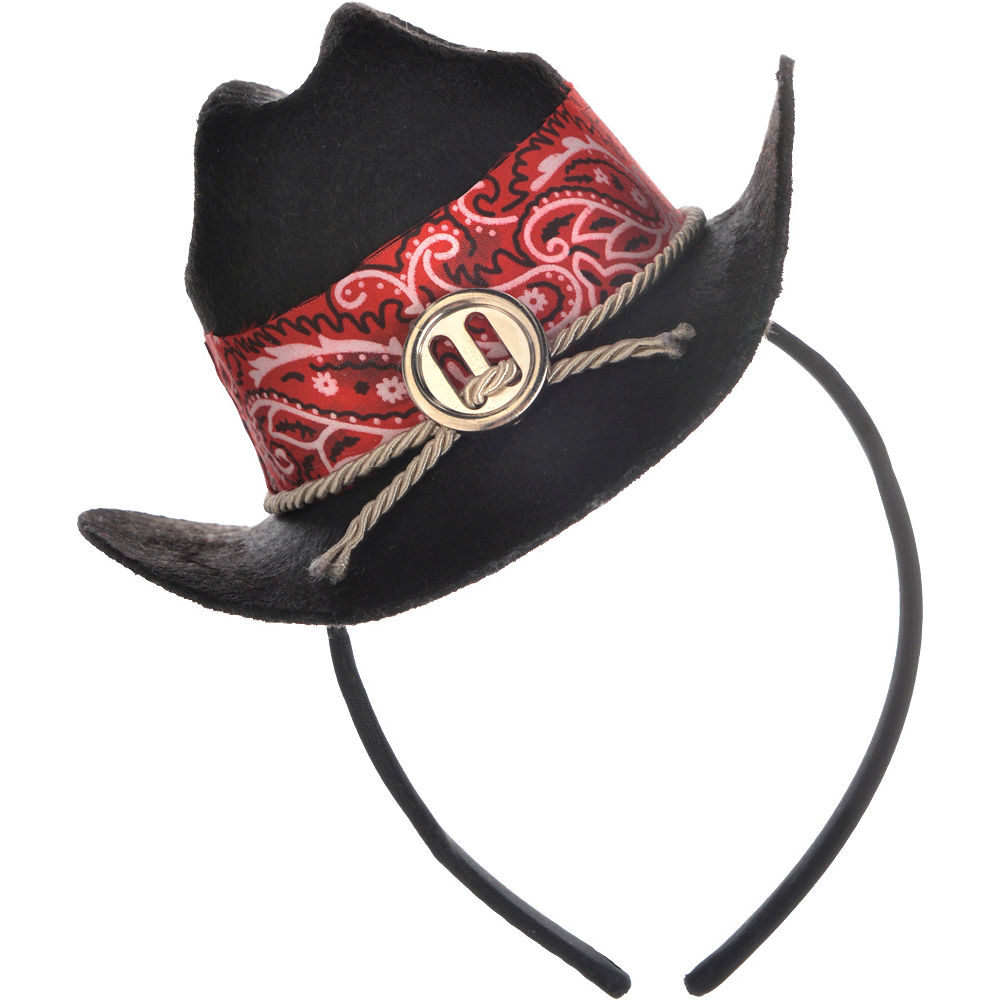 Black Mini Cowgirl Hat Headband Image #2