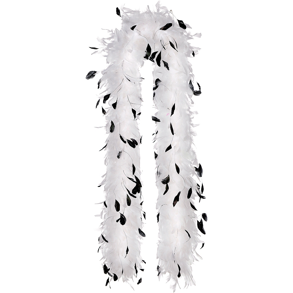 White & Black Speckled Feather Boa Image #1