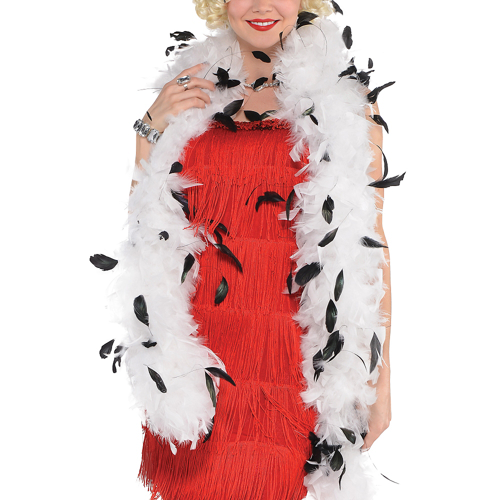 White & Black Speckled Feather Boa Image #2