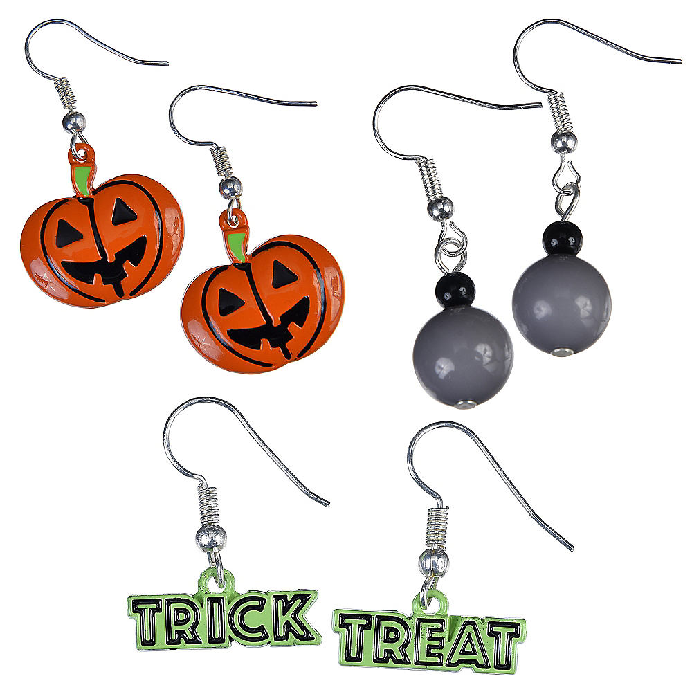 Jack-o'-Lantern & Trick-or-Treat Halloween Earrings Set 6pc Image #1