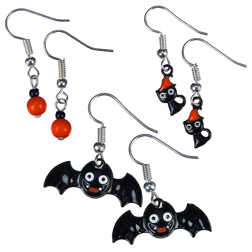 Bats & Cats Halloween Earrings Set 6pc Image #1
