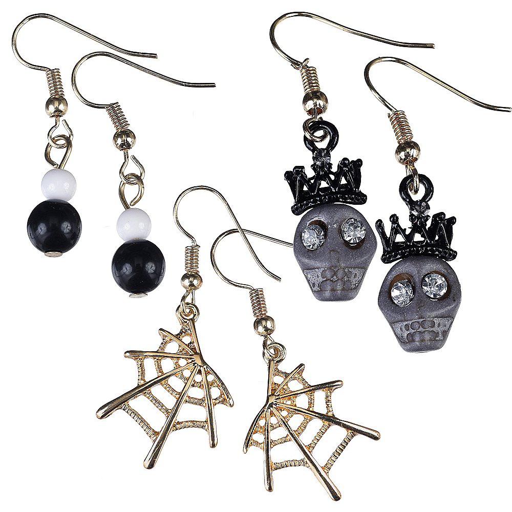 Skulls & Spider Webs Halloween Earrings Set 6pc Image #1