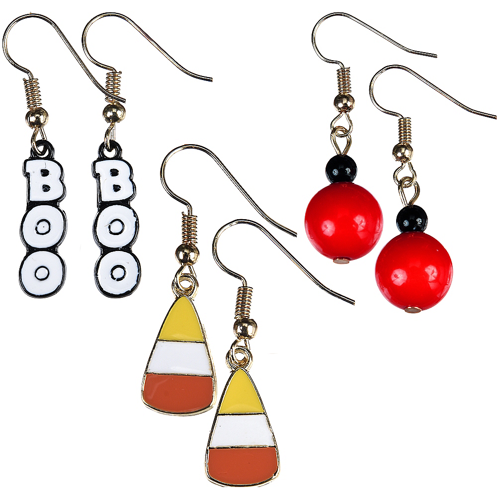 Nav Item for Boo & Candy Corn Halloween Earrings Set 6pc Image #1