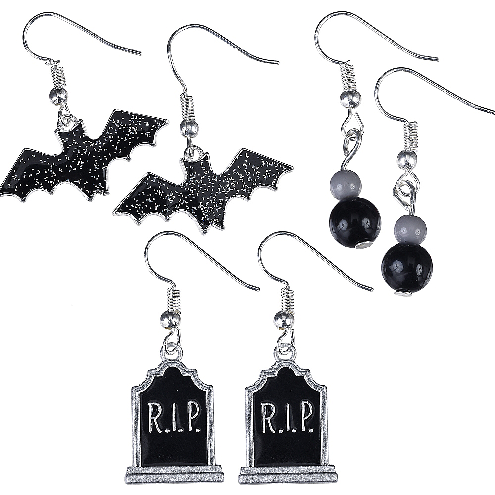 Bat & Tombstone Halloween Earrings Set 6pc Image #1