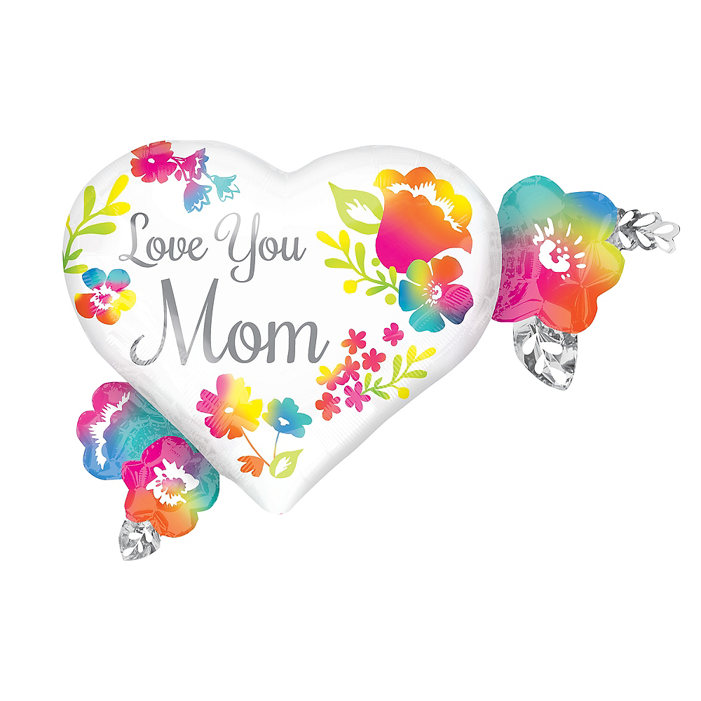 Love You Mom Hibiscus Flower Balloon, 27in Image #1