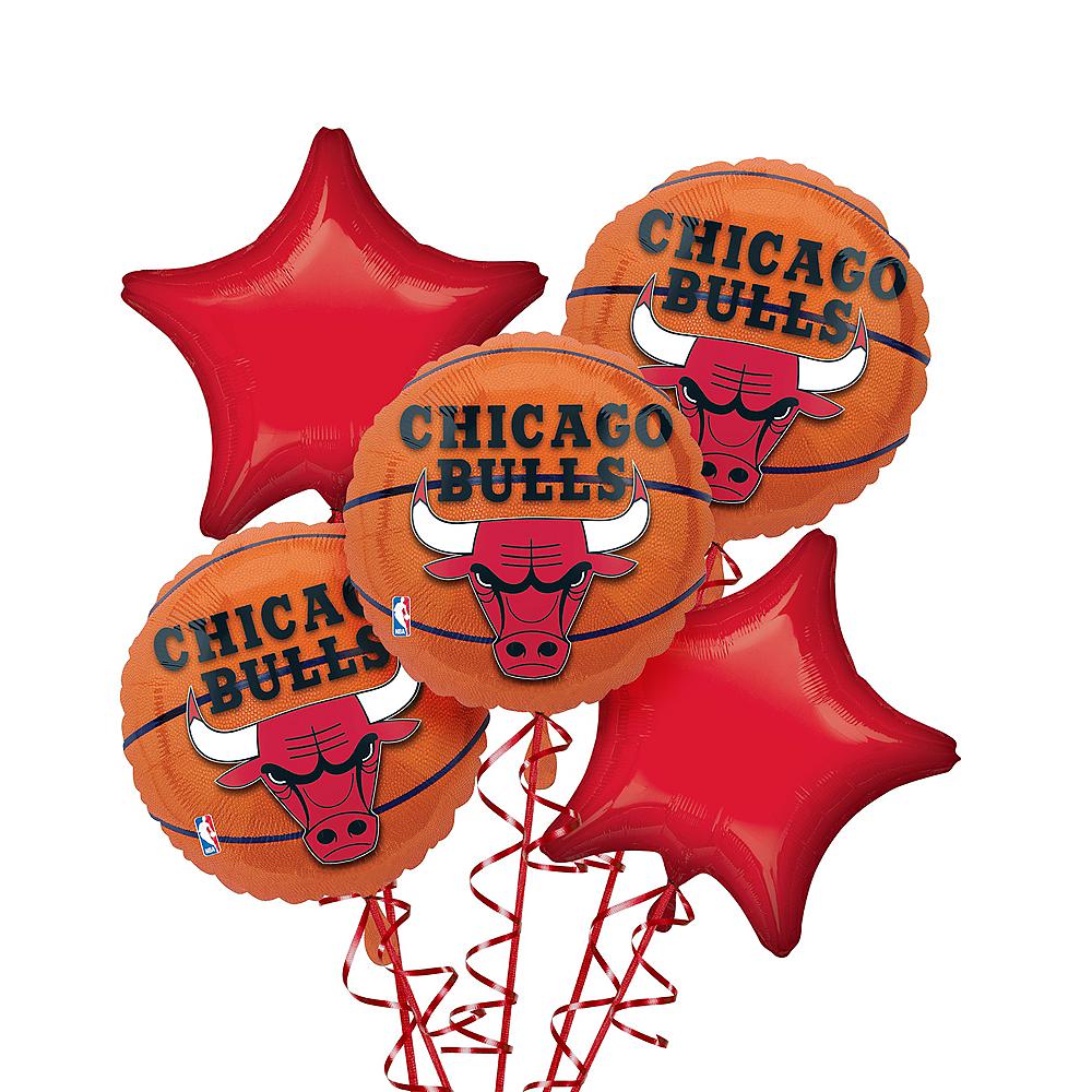 Chicago Bulls Balloon Bouquet 5pc - Basketball Image #1