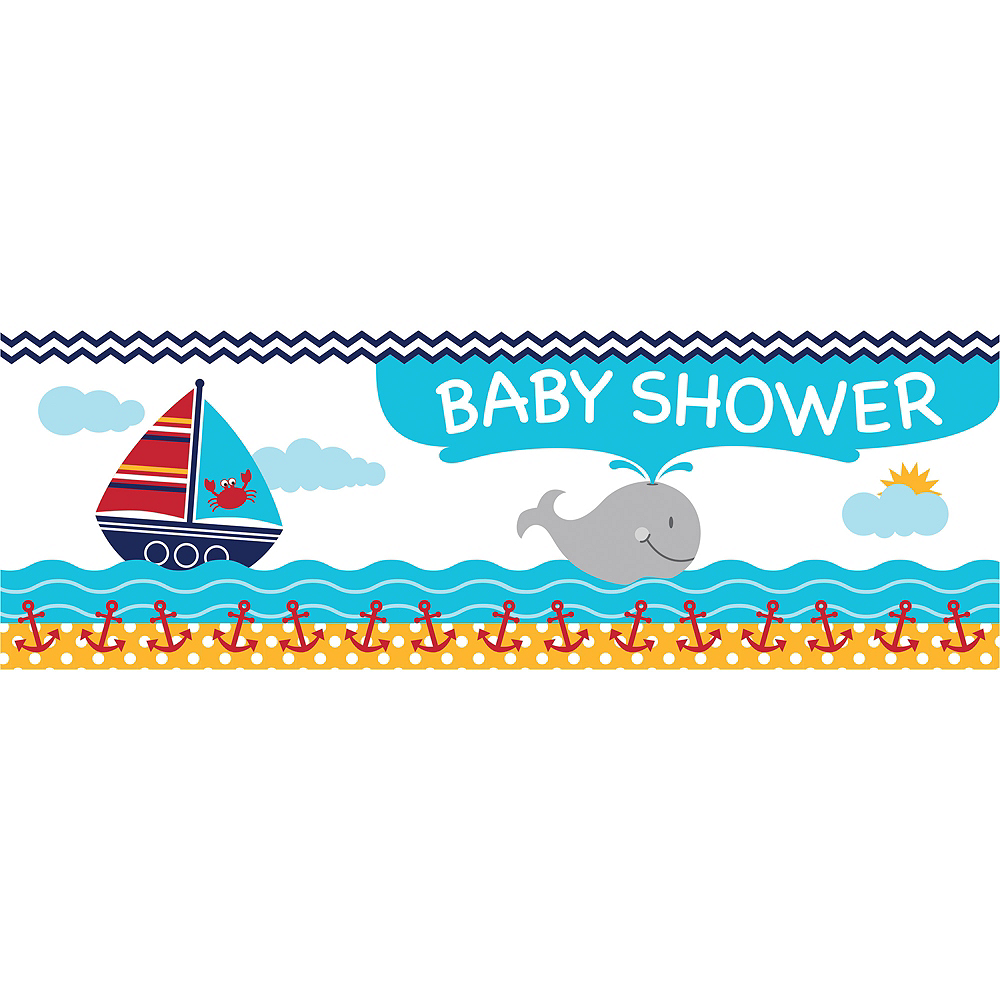 Giant Ahoy Nautical Baby Shower Banner Image #1