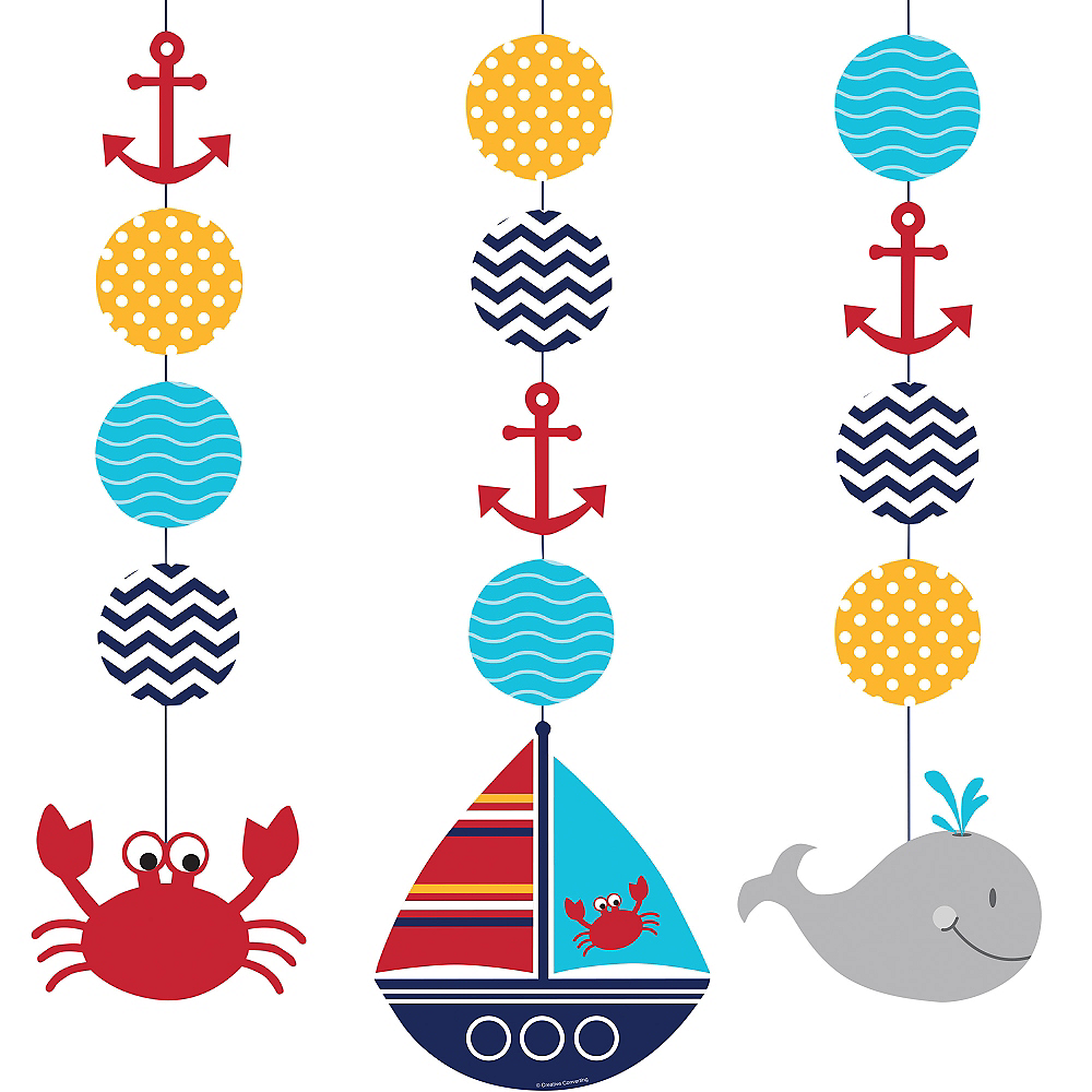 Ahoy Nautical String Decorations 3ct Image #1