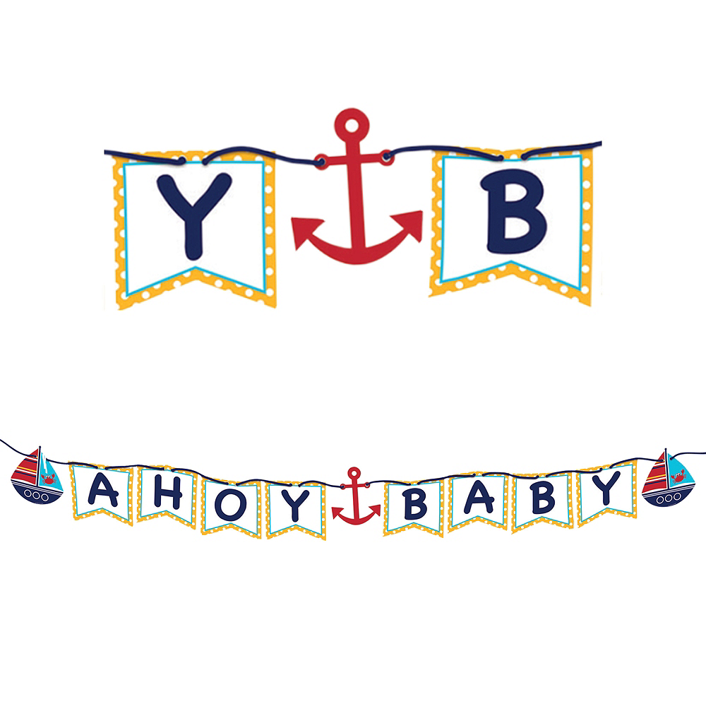 Ahoy Nautical Baby Shower Letter Banner Image #1