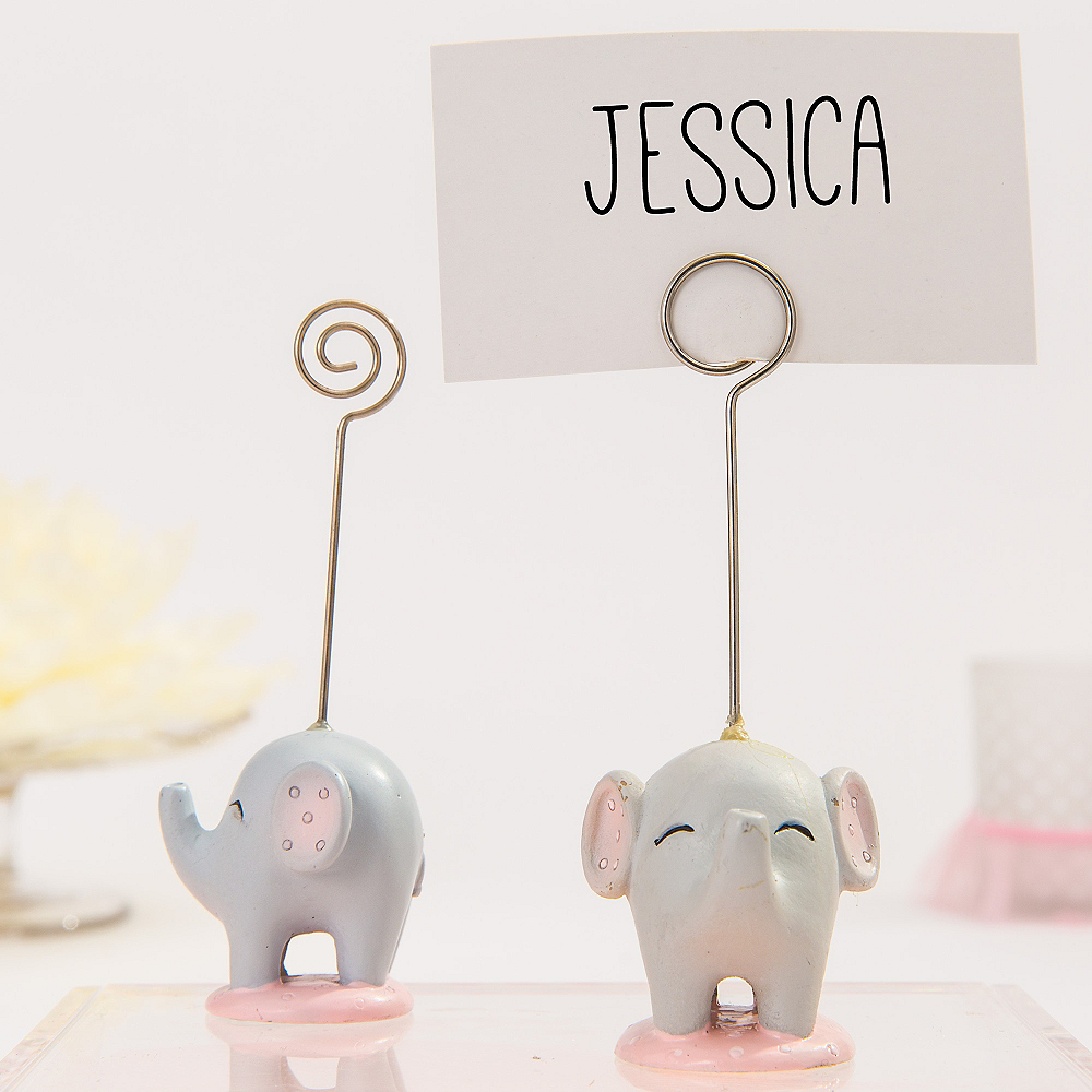 Pink Baby Elephant Place Card Holder Image #1