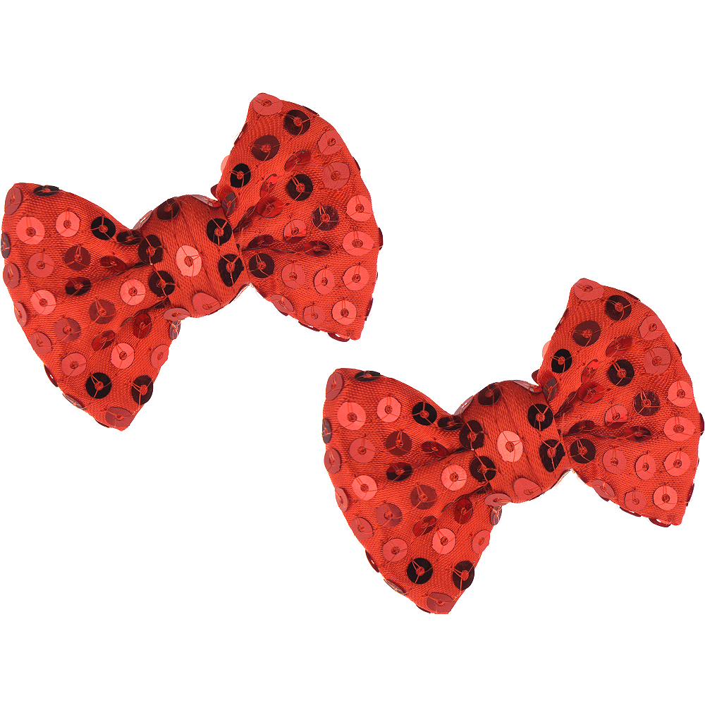 Red Sequin Hair Bows 2ct Image #1