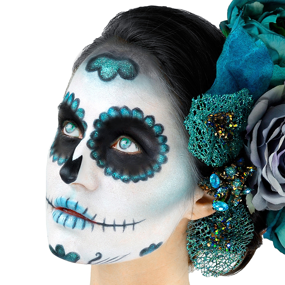 Day of the Dead Teal Makeup Kit 9pc Image #2