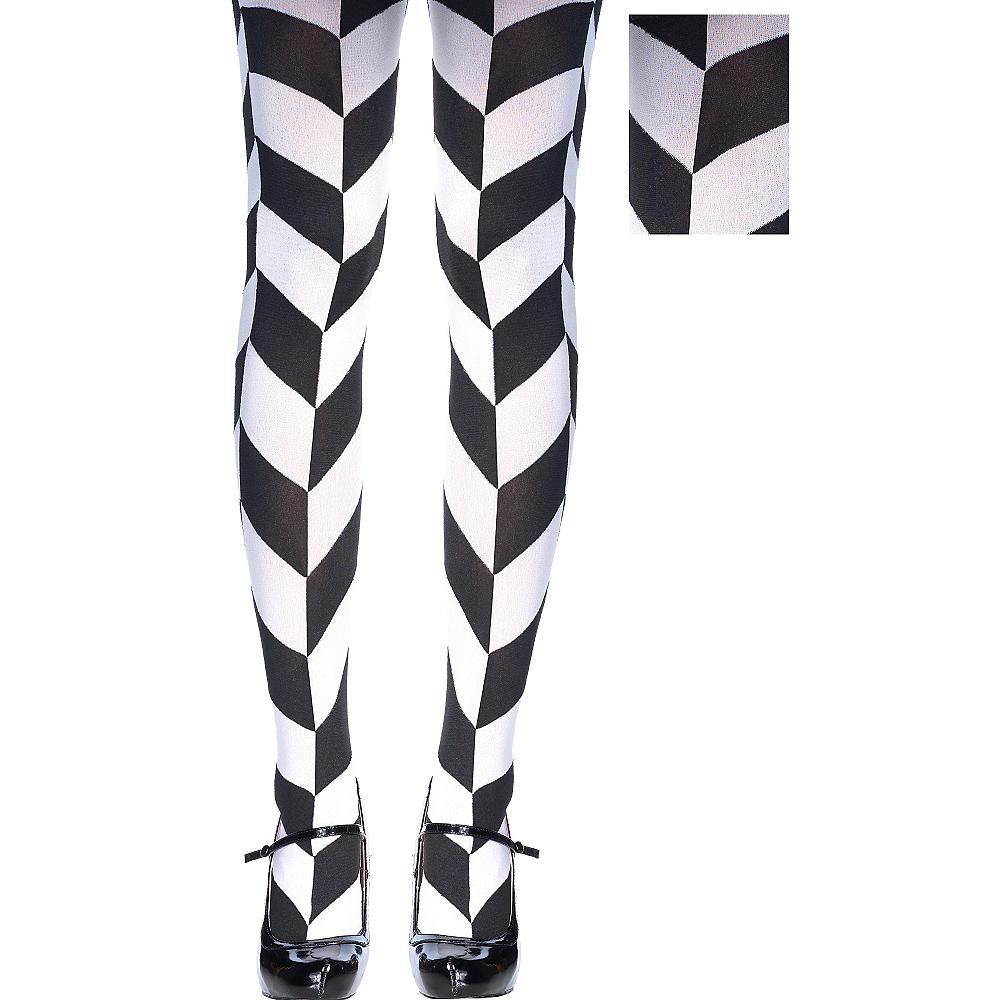 Black & White Herringbone Tights Image #1