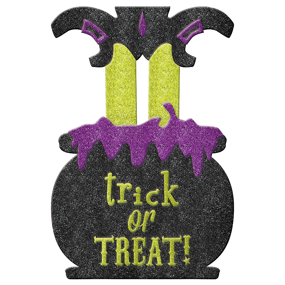Glitter Trick-or-Treat Witch Yard Stake Image #1