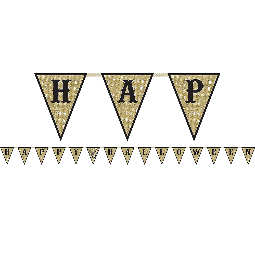 Nav Item for Happy Halloween Burlap Pennant Banner Image #1