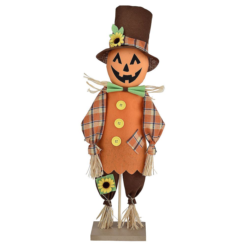 Friendly Standing Scarecrow Pumpkin Decoration Image #1
