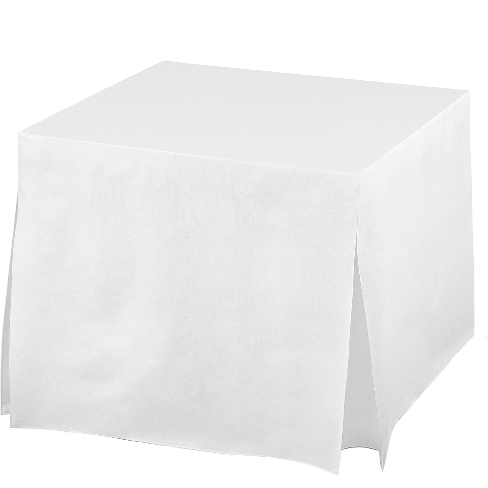 White Flannel-Backed Vinyl Fitted Table Cover Image #1