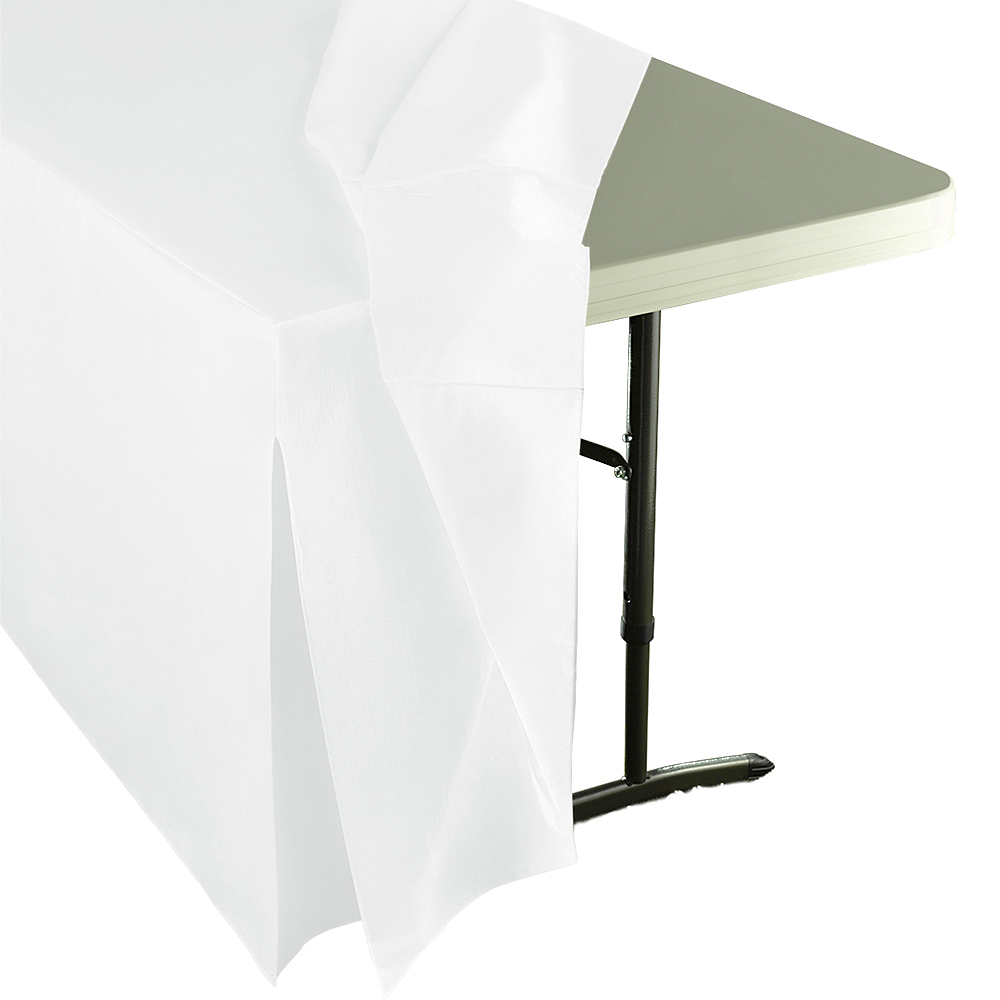 White Flannel-Backed Vinyl Fitted Table Cover Image #2