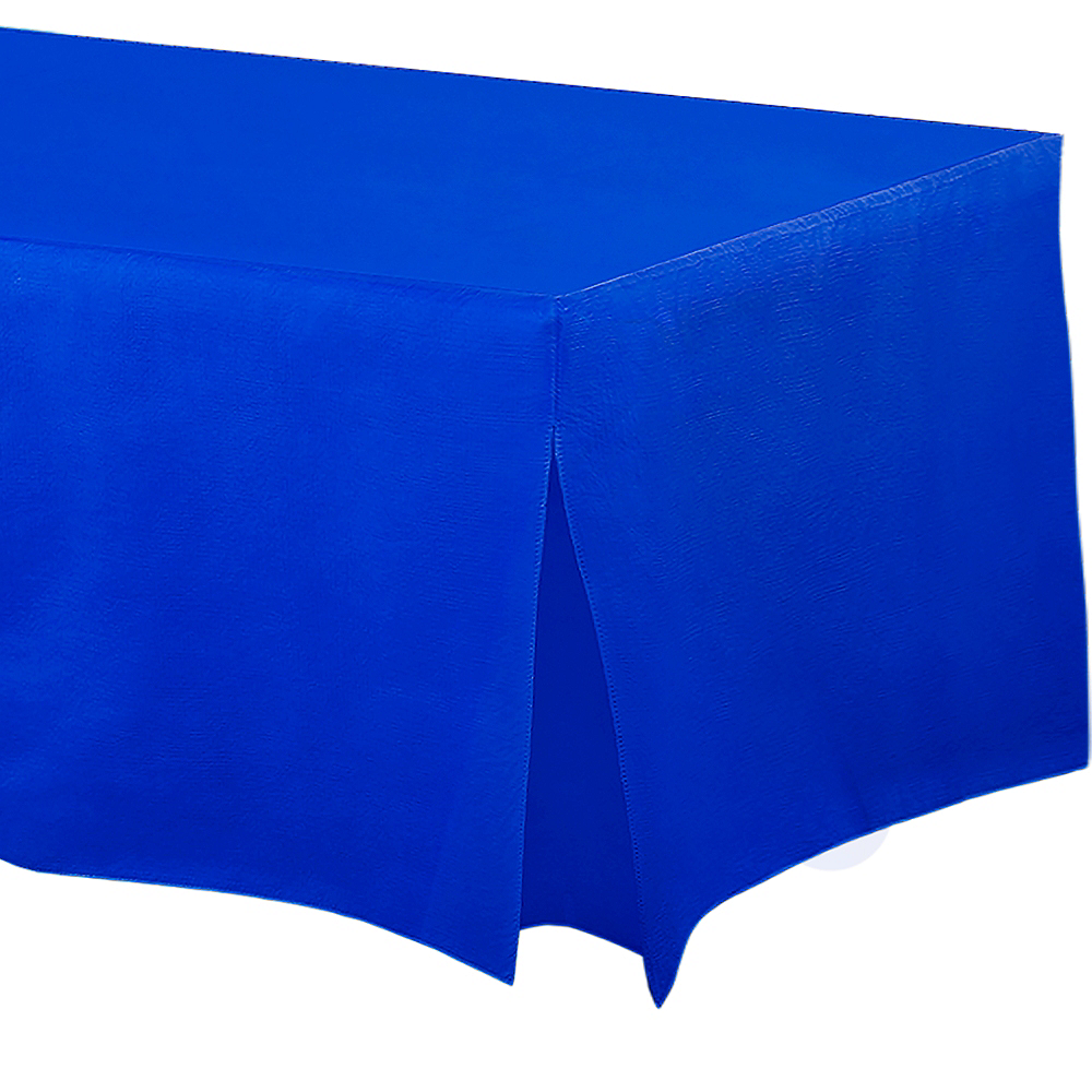 Royal Blue Flannel-Backed Vinyl Fitted Table Cover Image #1